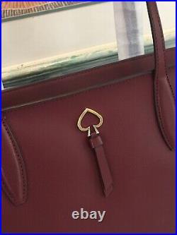 Kate Spade Adel Large Tote Shoulder Bag Cherrywood Leather Laptop Carryall $329