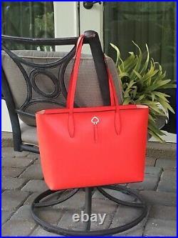 Kate Spade Adel Large Tote Shoulder Bag Orange Geranium Leather Laptop Satchel