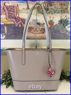 Kate Spade Adley Large Tote Shoulder Bag Purse Taupe Beige Tan Leather Laptop