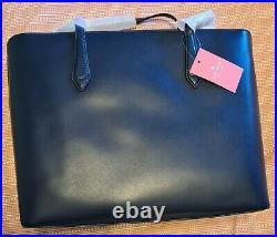 Kate Spade Breanna Large Leather Laptop Tote Shoulder Bag Blazer Blue