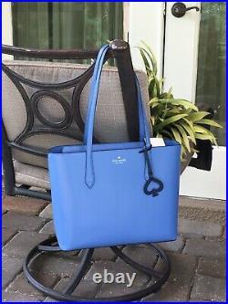 Kate Spade Breanna Shoulder Bag Tote Blue Leather Laptop Carryall Purse Silver