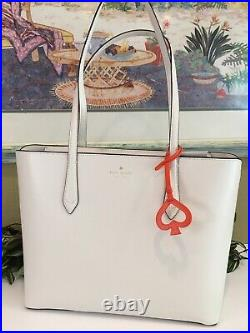 Kate Spade Breanna Shoulder Bag Tote White Cream Leather Laptop Carryall Purse