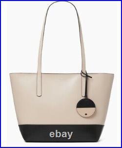 Kate Spade Briel Large Tote Shoulder Bag Beige Black Leather Laptop
