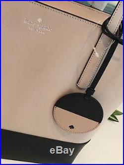 Kate Spade Briel Large Tote Shoulder Bag Beige Black Leather Laptop $329