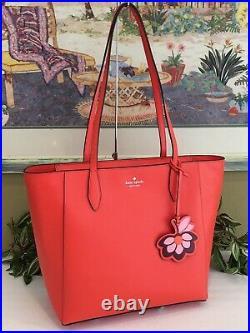 Kate Spade Dana Tote Shoulder Bag Orange Leather Laptop Carryall Purse Flower