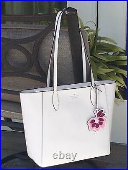 Kate Spade Dana Tote Shoulder Bag White Cream Leather Laptop Purse Flower Dangle