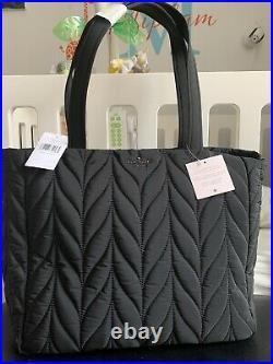 Kate Spade Ellie Rima Large Quilted Nylon Laptop Tech Tote Bag Nightcap