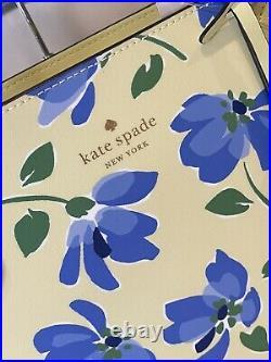Kate Spade Jana Tote Shoulder Bag Garden Toss Leather Laptop Purse Yellow Floral