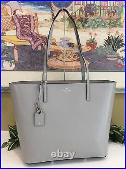 Kate Spade Janie Medium Large Tote Shoulder Bag Grey Leather Laptop Carryall