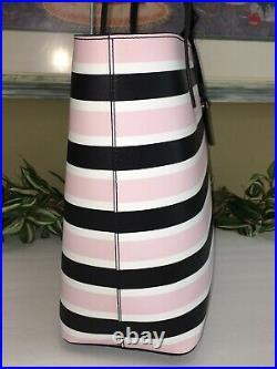 Kate Spade Janie Medium Large Tote Shoulder Bag Stripe Leather Laptop Carryall