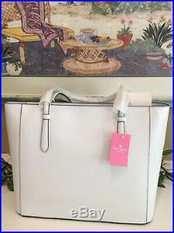 Kate Spade Loli Large Tote Shoulder Bag White Leather Silver Laptop Satchel $329