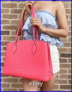 Kate Spade New York ZeeZee Large Work Tote Laptop Bag Peach Melba Pink Leather