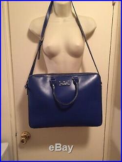 Kate Spade Women's Blue 100% Leather Wellesley Tanner Crossbody Laptop Bag