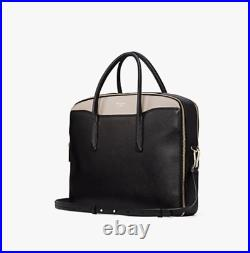 Kate Spade Womens Margaux Leather 15in Laptop Computer Bag, Black/Taupe