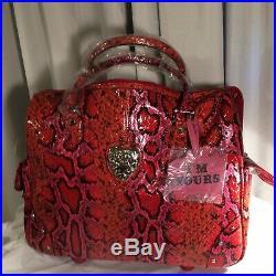 Kathy Van Zeeland Red Croco Rolling Tote Laptop Compartment & Organizer Bag
