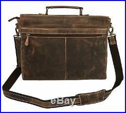 Kattee Men WOMEN GENUINE Leather Briefcase Messenger Laptop Handbag CHRISTMAS