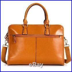 Kattee Suitcase Vintage Leather for Woman Bag Shoulder Messenger for Laptop