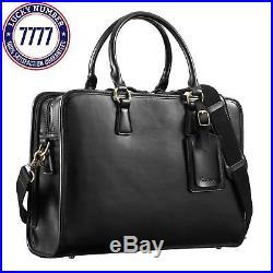 Kattee Women'S Leather Briefcase Messenger Bag 14 Laptop Handbag (Black)