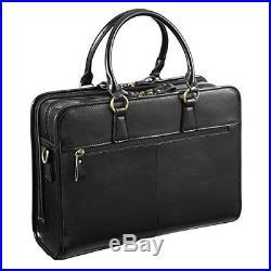 Kattee Women's Leather Briefcase Satchel Handbag 14 Laptop Tote Bag Black Bags