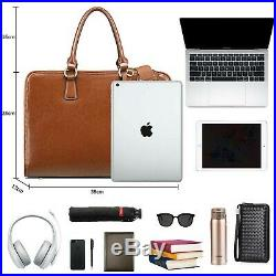 Kattee Womens Leather Briefcase, 14 Laptop Bag Work Handbag with 3 Compartment