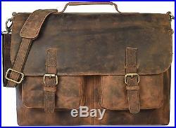 Kk's 18 Inch Retro Buffalo Hunter Leather Laptop Messenger Bag Office Briefcase