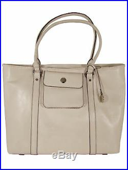 Knomo Womens Berkeley Collection Sulina Leather Laptop Tote Bag, Ivory
