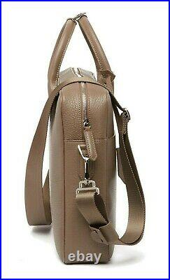 LONGCHAMP Top Handle Leather Briefcase Document Holder Laptop Tote Bag in Taupe