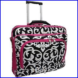 Ladies DAMASK with Pink Trim Rolling Computer Laptop Bag Brief Case - FITS