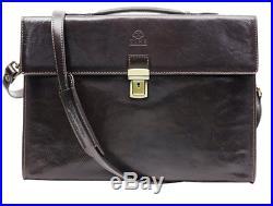 Leather Attache Case Mens Womens Lawyer Laptop Briefcase Messenger Bag Wallet