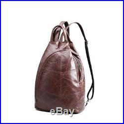 Leather Laptop Backpack School Bag Girl Women Travel Shoulder Bag Vintage Bags