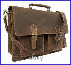 Leather Laptop Messenger Bag Vintage Briefcase Satchel for Men and Women 16 Inch