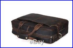 Leather Lawyer Womens Mens Messenger Bag Attache Case Wallet Laptop Briefcase