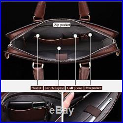 Leather Lawyers Briefcase Shoulder Laptop Business Slim Bags For Men & Women Cof