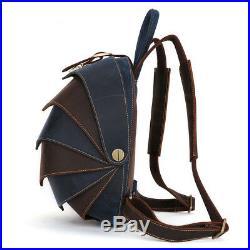 Leather Men Womens Backpack School Casual Genuine Cowhide Laptop Travel Rucksack