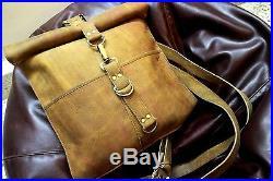 Leather Men women's ladies Briefcase Laptop roll top Shoulder Satchel backpack