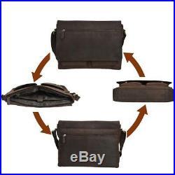Leather Messenger Bag for Men & Women 14inch laptop Brown Oily Hunter