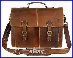 Leather Messenger Bag for Men & Women, Vintage Business Briefcase for Laptops &