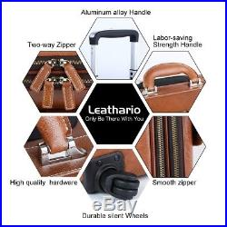 Leather Rolling Laptop Bag Luggage Case Suitcase Briefcase Roller Weekend Duffle