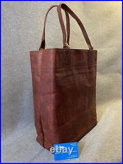 Leather Tall Tote Bag T-TOTE Zip Laptop Shopping Shoulder Bag