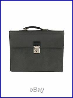 Louis Vuitton Women Black Leather Laptop Bag One Size