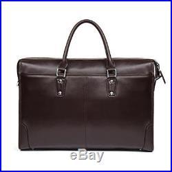 MANTOBRUCE Leather Briefcase for Men Women Travel Work 15 Laptop Bag