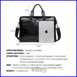 MANTOBRUCE Leather Briefcase for Men Women Travel Work Messenger Bags 16 Laptop