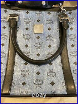 MINT MCM Color Visetos Denim Blue Crossbody Zip Messenger Laptop Briefcase Bag