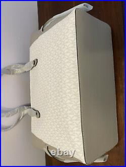 MK GILLY LARGE DRAWSTRING ZIP TOTE BAG LAPTOP MK SIGNATURE WHITE GREY WithWALLET
