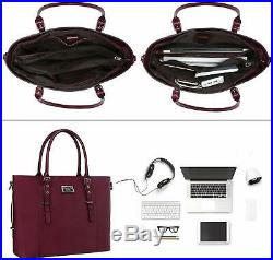 MOSISO PU Leather Laptop Tote Bag for Women (Up to 15.6 inch), Wine Red