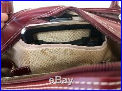 McKlein Red Wheeled Leather Laptop Briefcase Travel Bag Luggage Women Suitcase