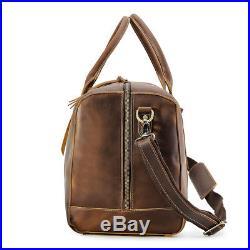 Men Vintage Leather Luggage Duffle Gym Bag Handbag Travel Bag 17 Laptop Bag