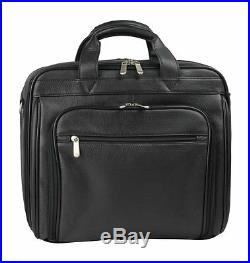 Men/Women Executive Top Grain Leather 15.4 Laptop Portfolio Case Computer Black
