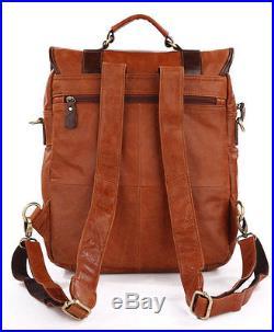 Men Women Genuine Leather Shoulder Backpack 15'' Laptop School Bag Satchel Brown