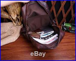 Men Women Genuine Leather Vintage Backpack Schoolbag Shoulder Laptop bag Satchel
